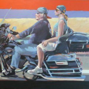 """Freiheit auf zwei Rädern <br><a href=""""https://arte-kunstmesse.de/margot-kupferschmidt/"""">Margot Kupferschmidt</a>"""