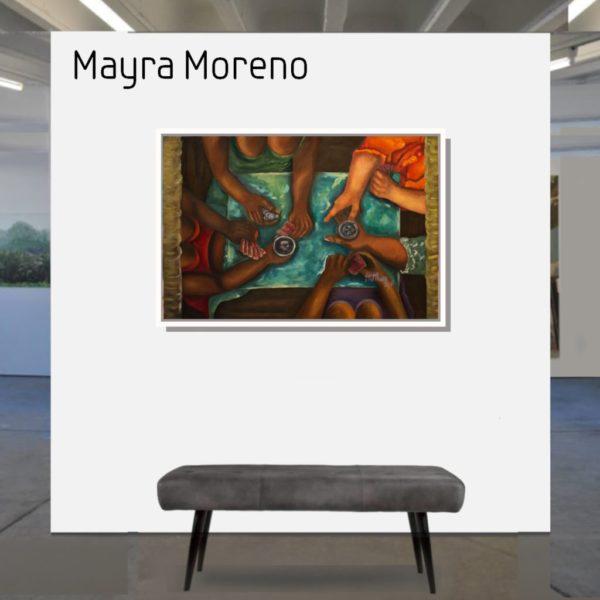 Maske_Moreno_Mayra_Cartas_en_Manos_60x90_mit_Rahmen