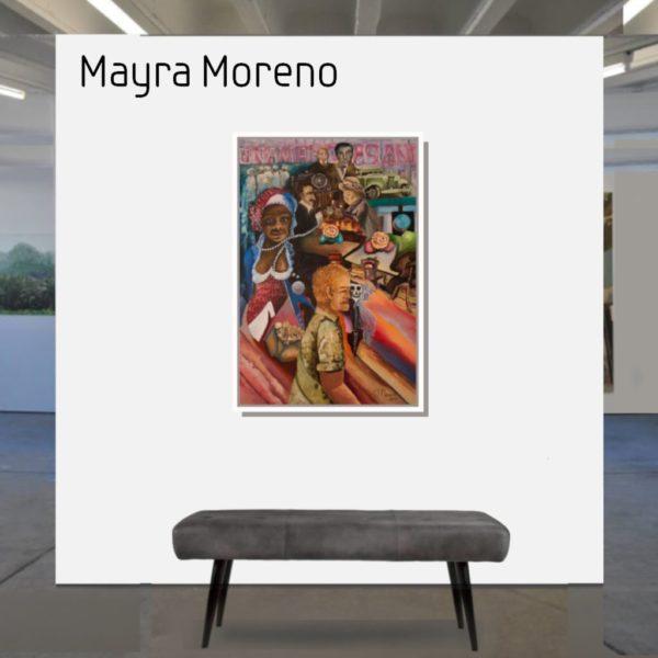 Maske_Moreno_Mayra_La_Cumbia_se_va_1_90x60_mit_Rahmen