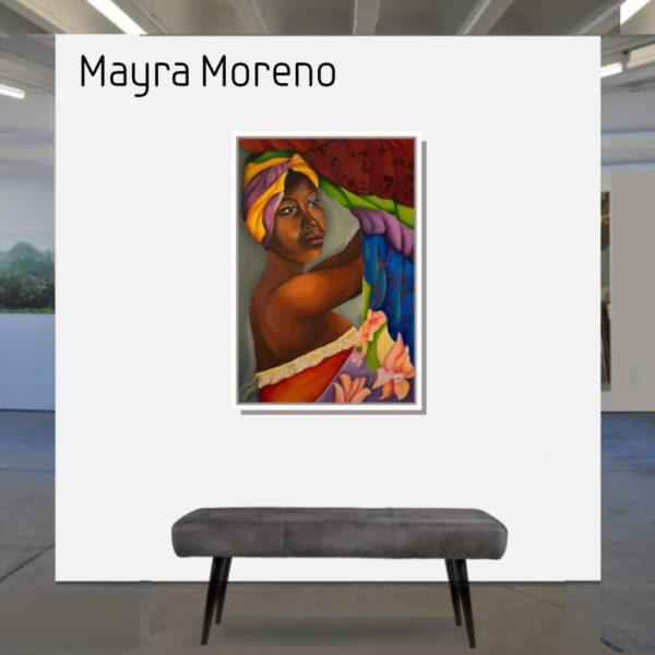 Maske_Moreno_Mayra_Meme_baila_90x60_mit_Rahmen